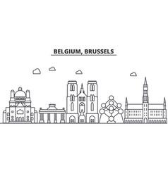 belgium brussels architecture line skyline vector image