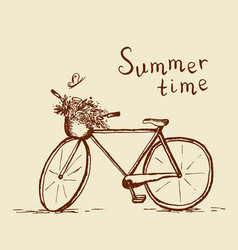 bicycle sketch summer time vector image