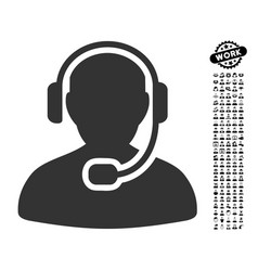 Call center worker icon with professional bonus vector