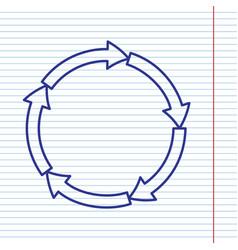 Circular arrows sign navy line icon on vector