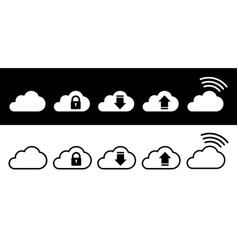 Cloud icon set in white and black in flat style vector