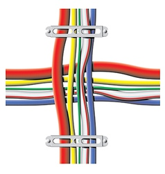 color cables with brackets vector image vector image