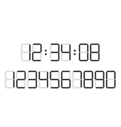 Digital clock number set vector