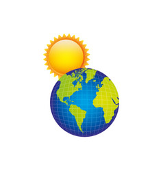 Earth planet with sun icon vector
