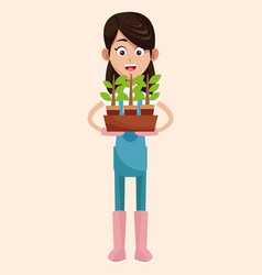 Farmer pot plant work vector