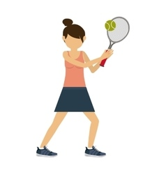 Female athlete practicing tennis isolated icon vector