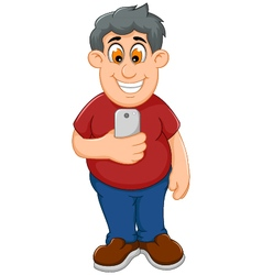 funny fat man cartoon playing mobile phone vector image