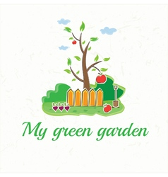 Garden with tree fences shovel vegetables and vector