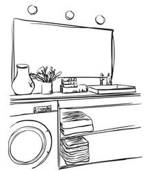 Hand drawn bathroom washbasin mirror and other vector