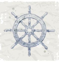 Hand drawn ship steering wheel vector