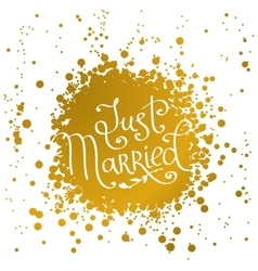 Hand drawn words just married vector