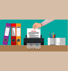 Hand putting contract paper in shredder machine vector