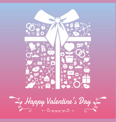 happy valentines day with symbols template of vector image vector image
