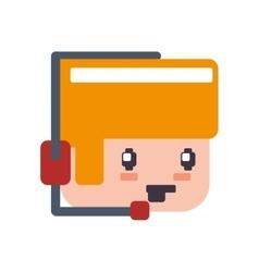 headphone boy pixel video game play icon vector image vector image