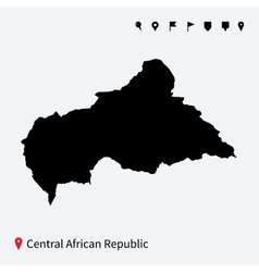 High detailed map of Central African Republic with vector image