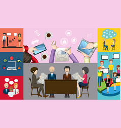 Infographic design for business people working vector