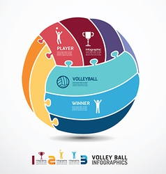 infographic Template with volleyball jigsaw banner vector image vector image