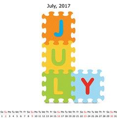 July 2017 puzzle calendar vector