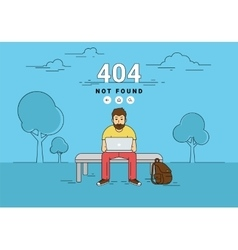 Man with laptop 404 page not found error vector image