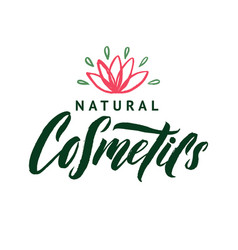 Natural cosmetics logo stroke pink water vector