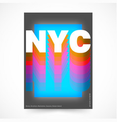 New york city poster nyc colorful design for vector