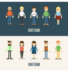 Our team banner with cartoon characters vector image vector image