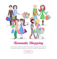 Romantic shopping cartoon flat concept vector