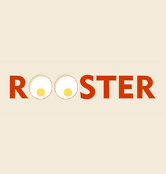 Rosster word with eggs icons vector