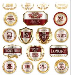 sale retro vintage golden badges and labels 02 vector image