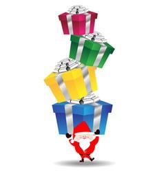 Santa claus carry heavy gift box vector