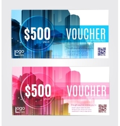 set Gift voucher template vector image