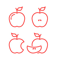 set of red linear apples vector image vector image