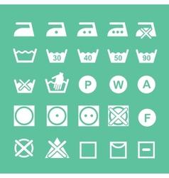 Set of washing symbols washing instruction vector
