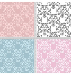 Summer seamless floral pattern set vector image