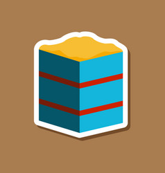 Sweet dessert in paper sticker piece of cake vector