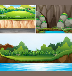 three scenes of forests and river vector image