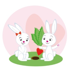 Two lovers rabbit with a carrot - vector