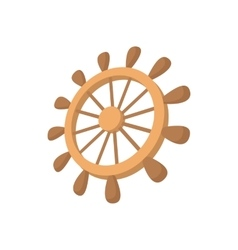 Wooden ship wheel icon cartoon style vector image