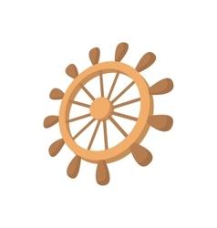 Wooden ship wheel icon cartoon style vector
