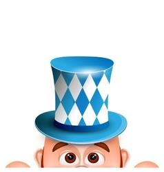 Cartoon leprechaun in a bavarian hat card for vector