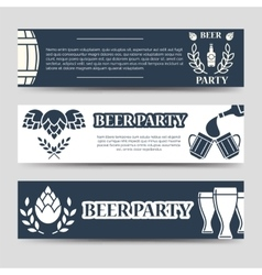 Web banners beer party template set vector