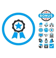 Certification seal flat icon with bonus vector