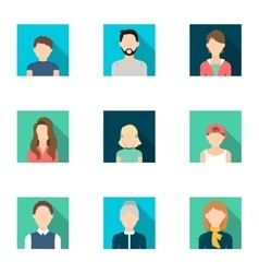 Avatar set icons in flat style big collection of vector