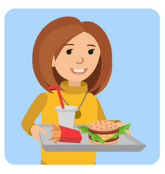 Woman with a tray of food in his hands vector