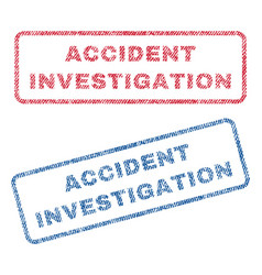 Accident investigation textile stamps vector
