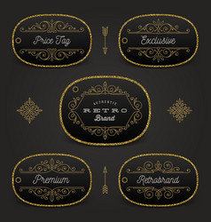 Set of price tag or brand label with glitter gold vector