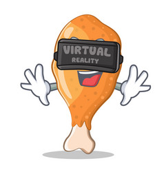 With virtual reality fried chicken character vector