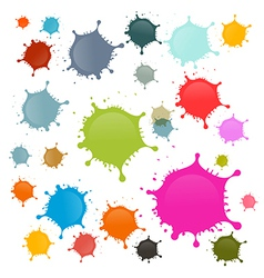 Colorful stains blots splashes set isolated on vector