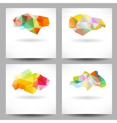 Set of backgrounds with abstract triangles vector