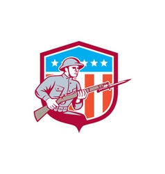 World war one soldier american retro shield vector